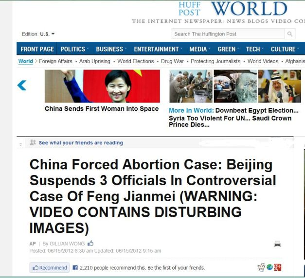 Screen-grab of Huffington Post 16 June 2012